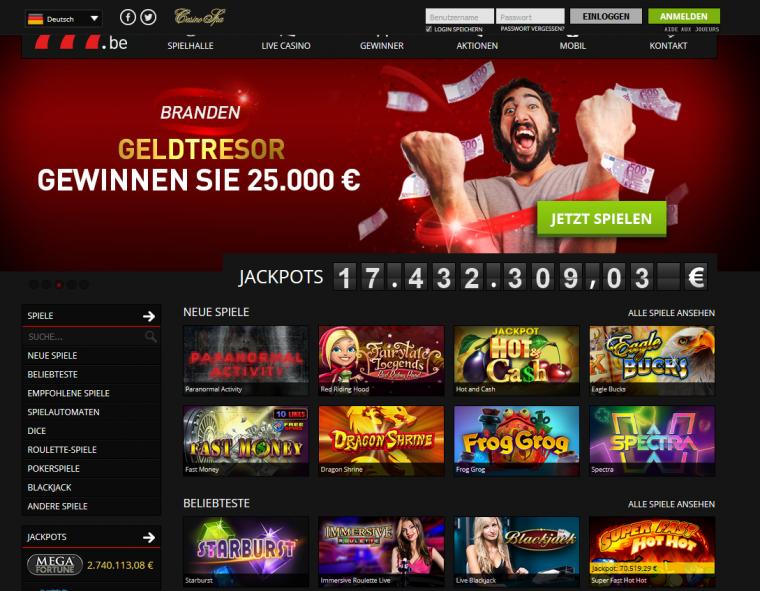777 Casino Webauftritt