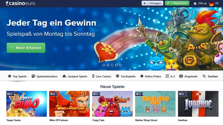 Casino Euro Webauftritt