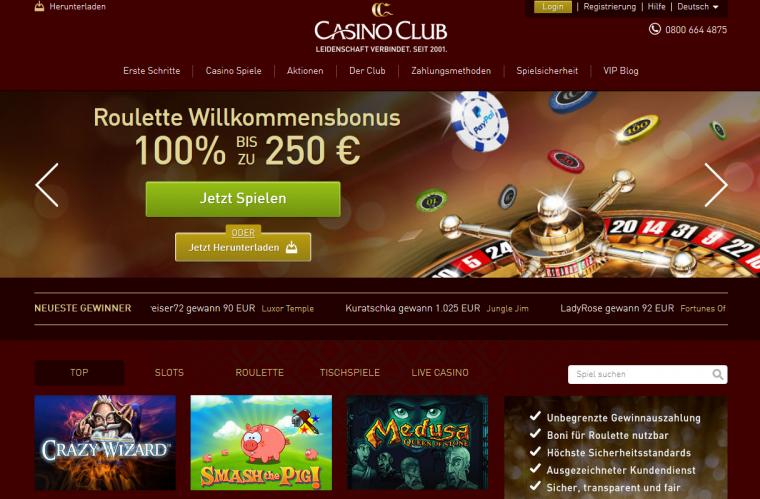 Casino Club Webauftritt