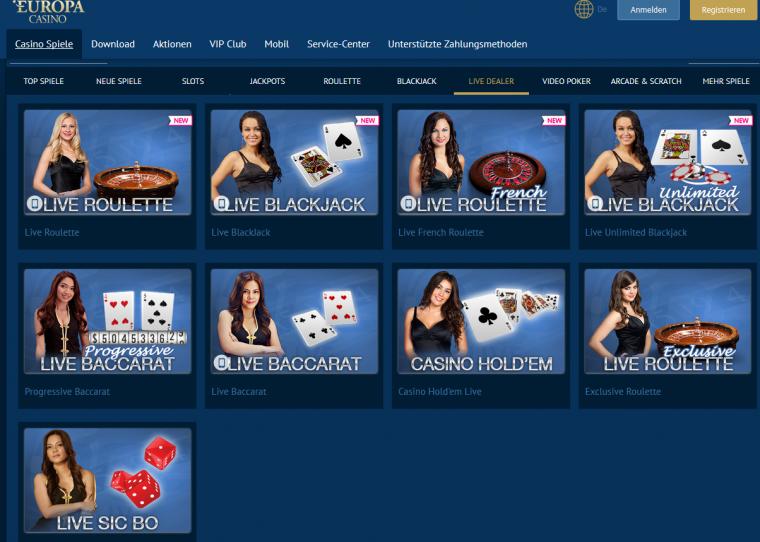 Europa Casino Spielangebot
