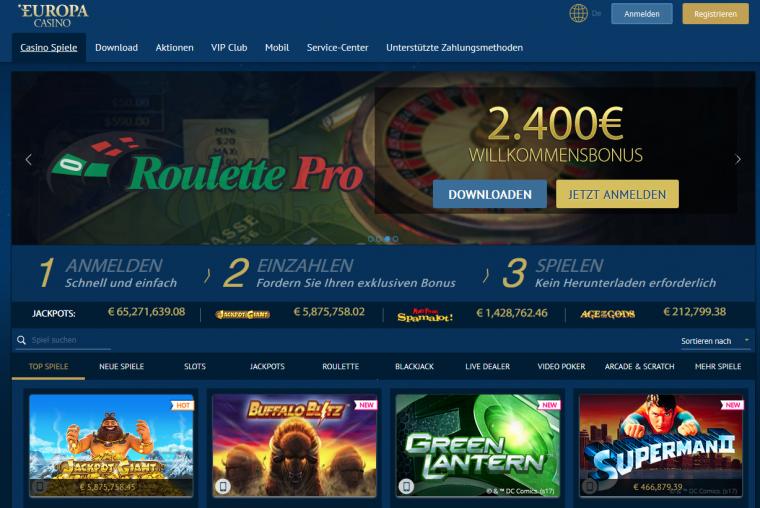 Europa Casino Webauftritt