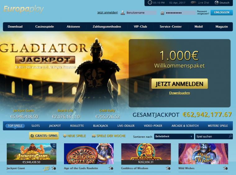 Europaplay Webauftritt