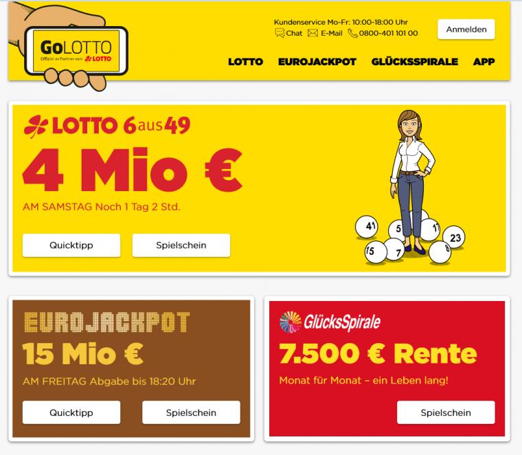 GoLotto Webauftritt