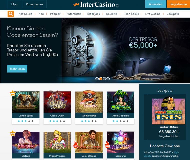 InterCasino Webauftritt