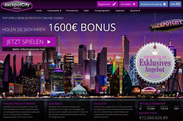 Jackpot City Webauftritt