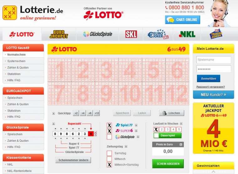 Lotterie.de Spielauswahl
