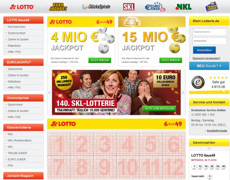 Lotterie.de Webauftritt