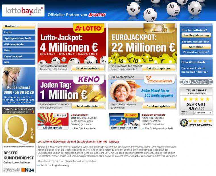 Lottobay Webauftritt