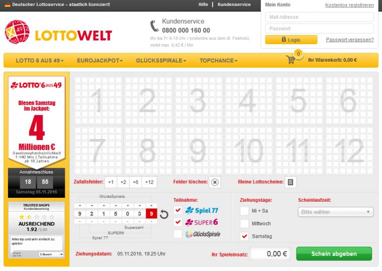 Lottowelt Spielauswahl