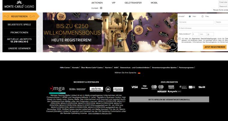 Monte-Carlo Casino Webauftritt