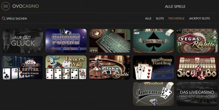 OVO Casino Spielangebot