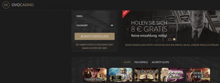 OVO Casino Webauftritt