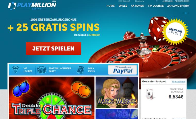 PlayMillion Webauftritt