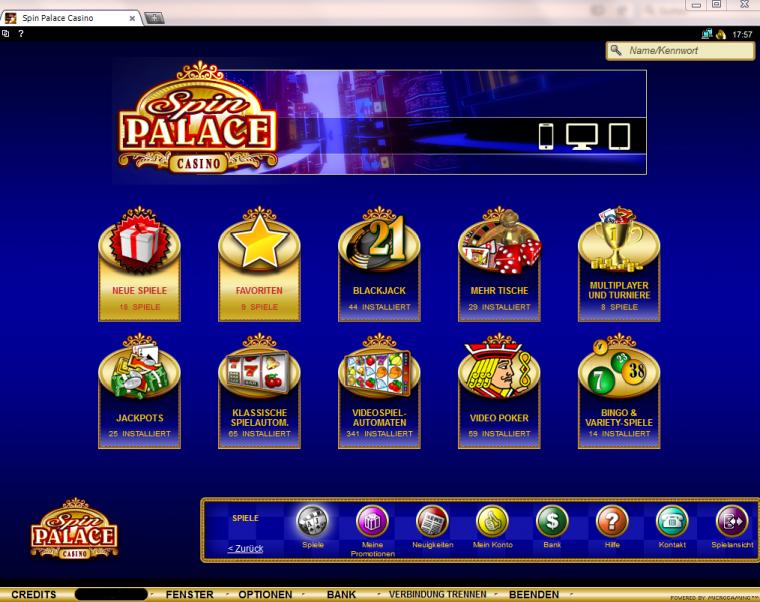 SpinPalace Webauftritt