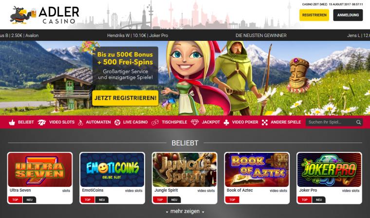 Adler Casino Webauftritt