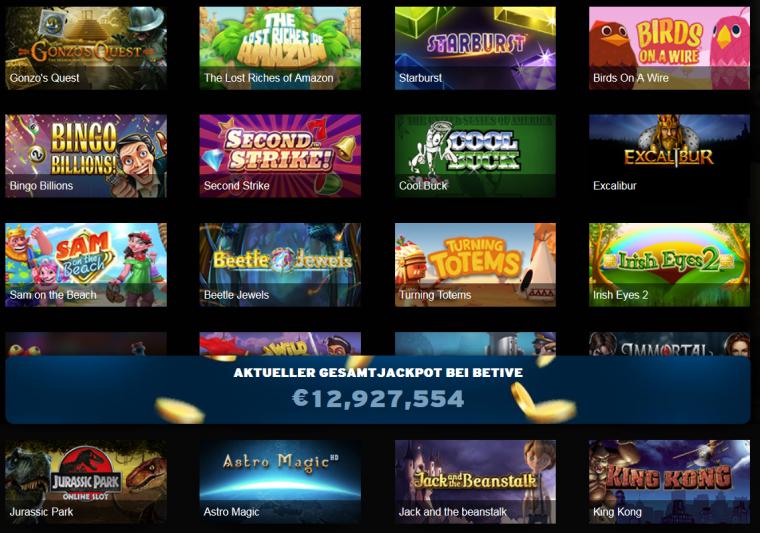 Betive Casino Spielangebot