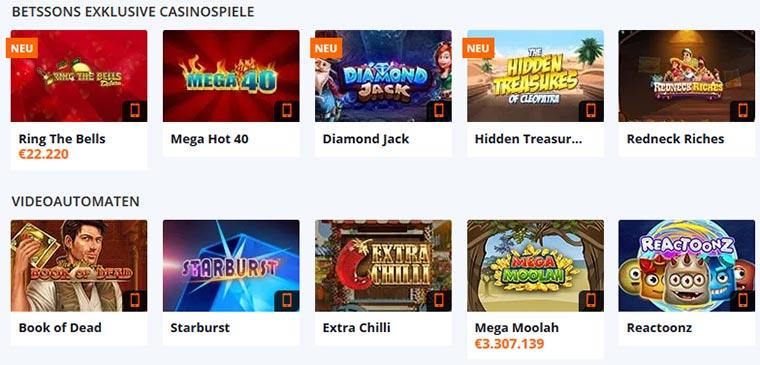Betsson Casino Spielangebot