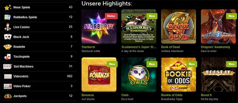 ComeOn Casino Spielangebot