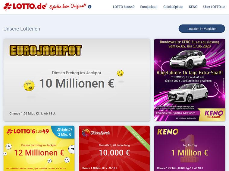 Lotto.de Webauftritt