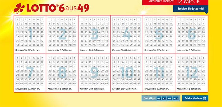 Lotto-Online.net Spielschein