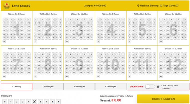 LottoPalace Spielschein